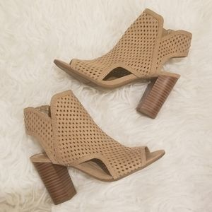 SAM EDELMAN Perforated Peep Toe Ankle Booties